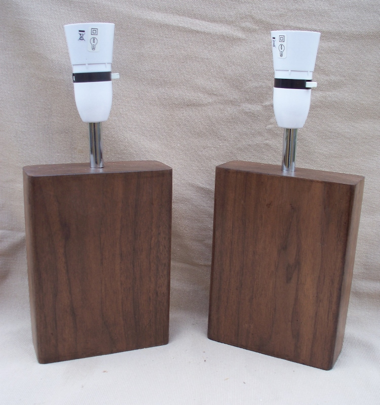 Matching Pair of Solid Walnut Wood Lamps  - reclaimed Walnut beam Table Lamp bedside lamp WL1