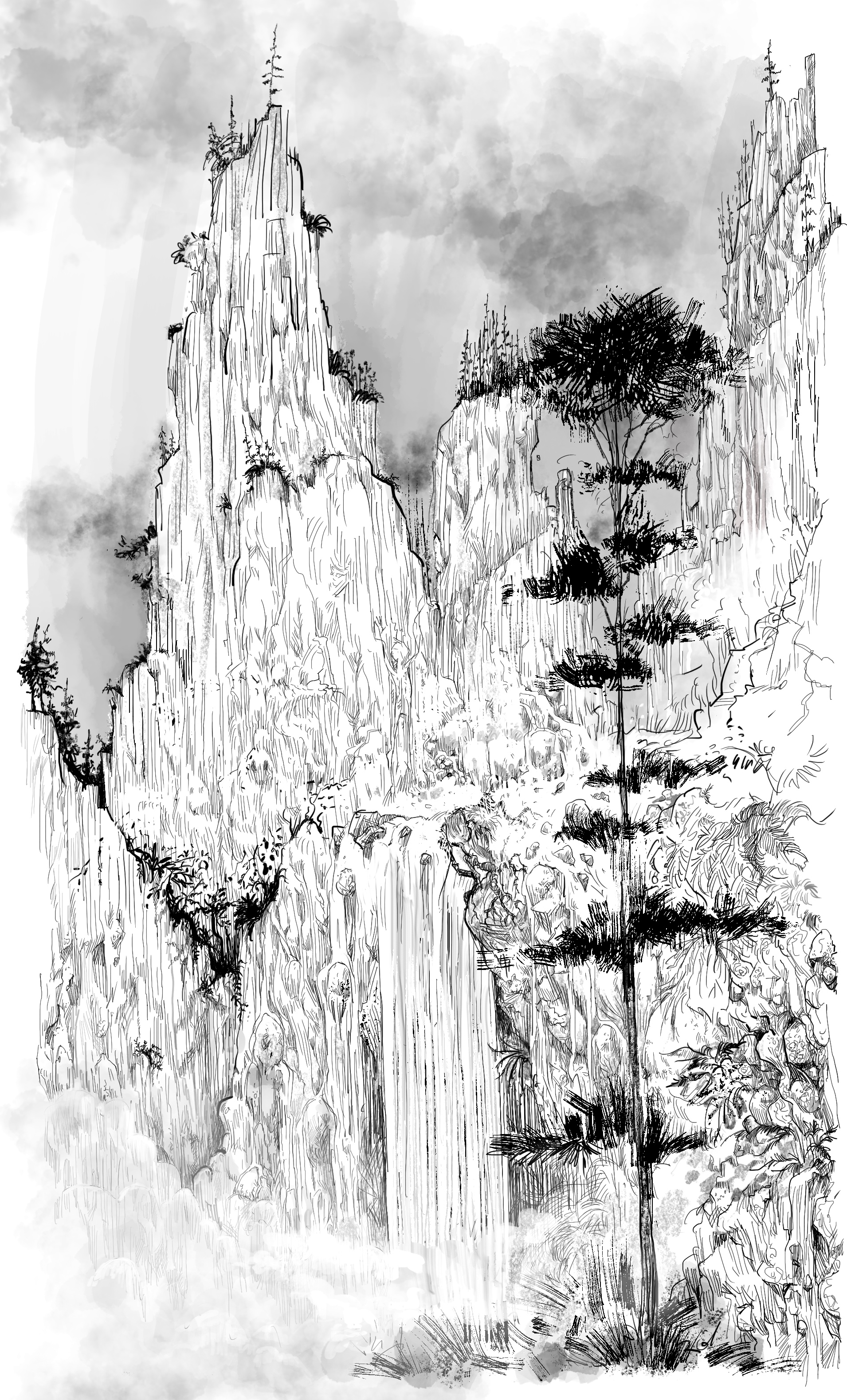 Chinese mountain sketch