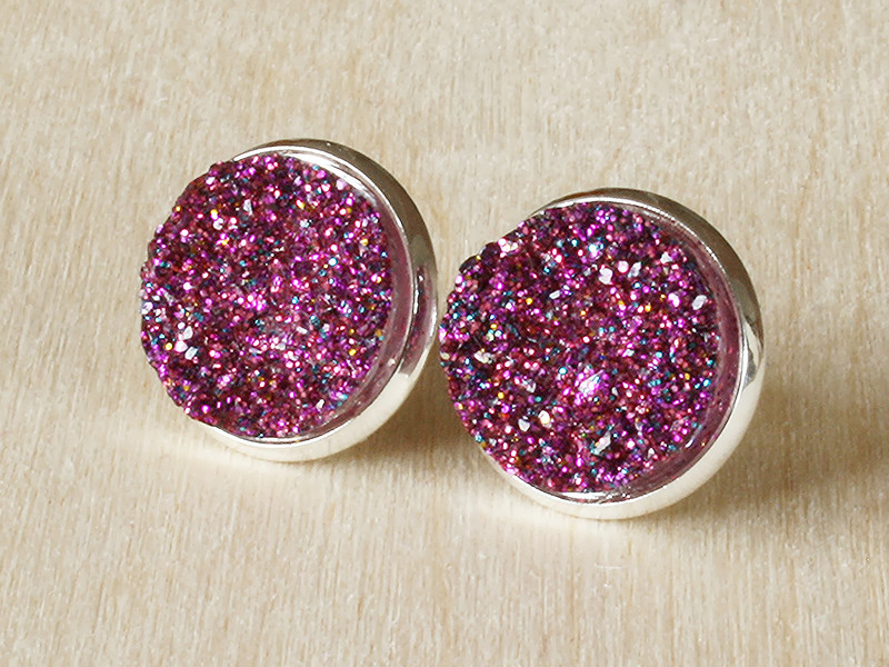Druzy - Pink/Lila/Silber CLIPS