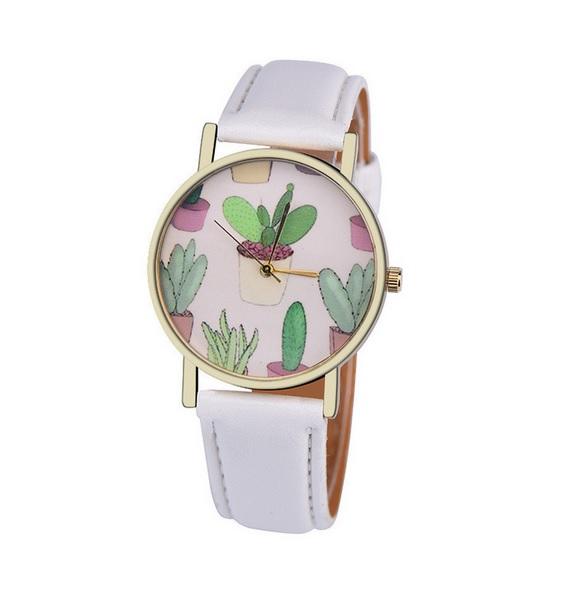 Uhr - Kaktus *weiß