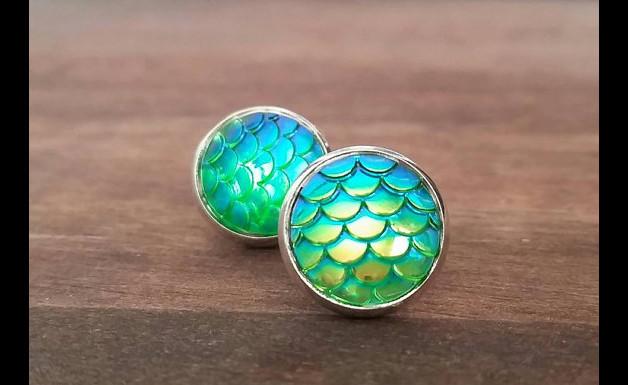 Druzy - Fischschuppen grün/türkis metallic S
