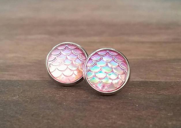 Druzy - Fischschuppen rosa metallic S