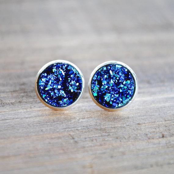Druzy - Blau/Türkis/Silber CLIPS