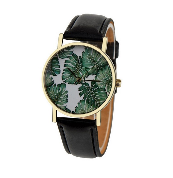 Uhr - Blätter *schwarz