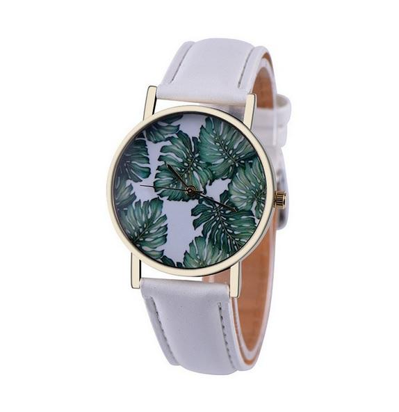 Uhr - Blätter *weiß