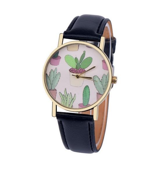 Uhr - Kaktus *schwarz