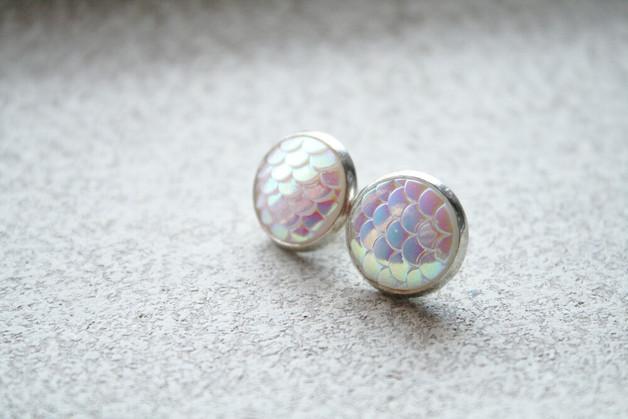 Druzy - Fischschuppen weiß/perle metallic S
