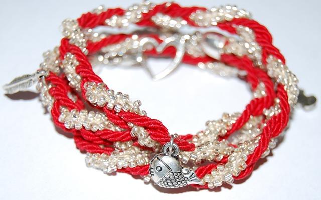 Duo Style Bracelet/Collier Rouge Doré