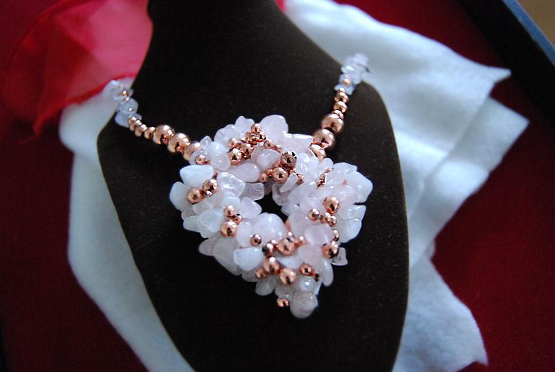 Collier barroque quartz rose