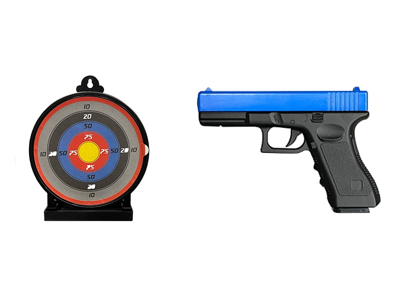 Vigor 17 Series Metal Spring Pistol with 6.5inch Sticky Target and 1000 0.12g BB Pellets (Blue