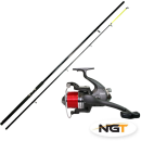 new 12ft beachcaster rod and fixed spool reel with line