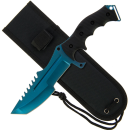 "Huntsman Style Knife - 11"" with Rubber Handle and Blue Edge Blade"