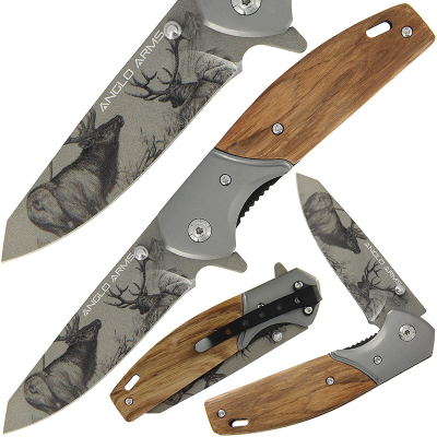 Anglo Arms Lock Kinife 375 - Deer Design with Zebra Wood Handle And Nylon Case