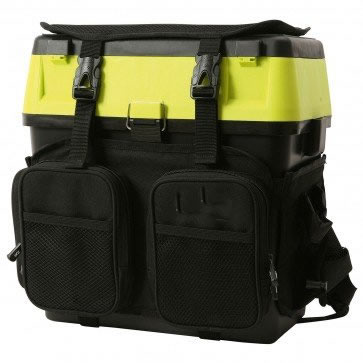 Black seat and tackle box multi pocket harness