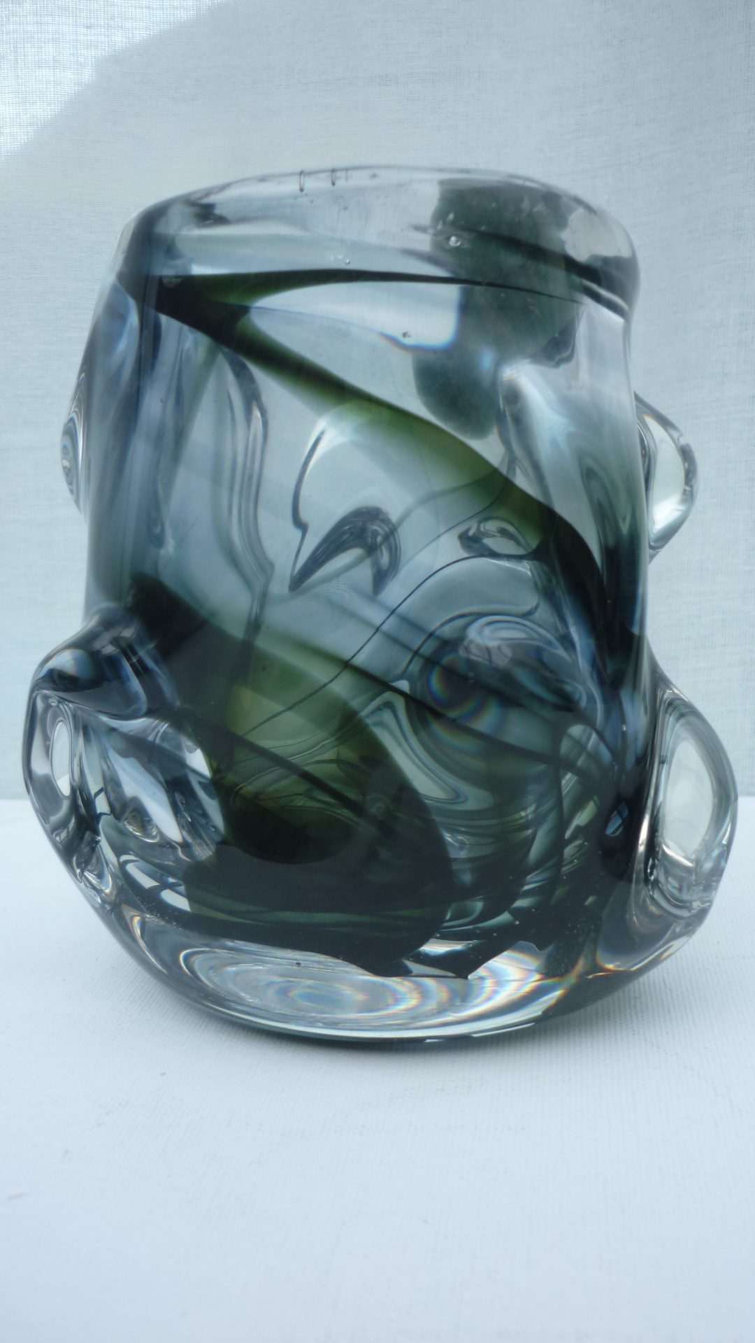 13cms high Whitefriars Streaky Green and Brown William Wilson and Harry Dyer Knobbly vase