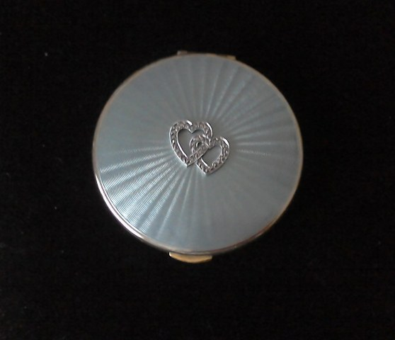 Kigu 1960's Pale Blue enamel silver plated powder compact