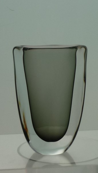 "A Scandinavian Orrefors Somerso 1950s vintage ""Dusk"" glass vase by Nils Landberg."