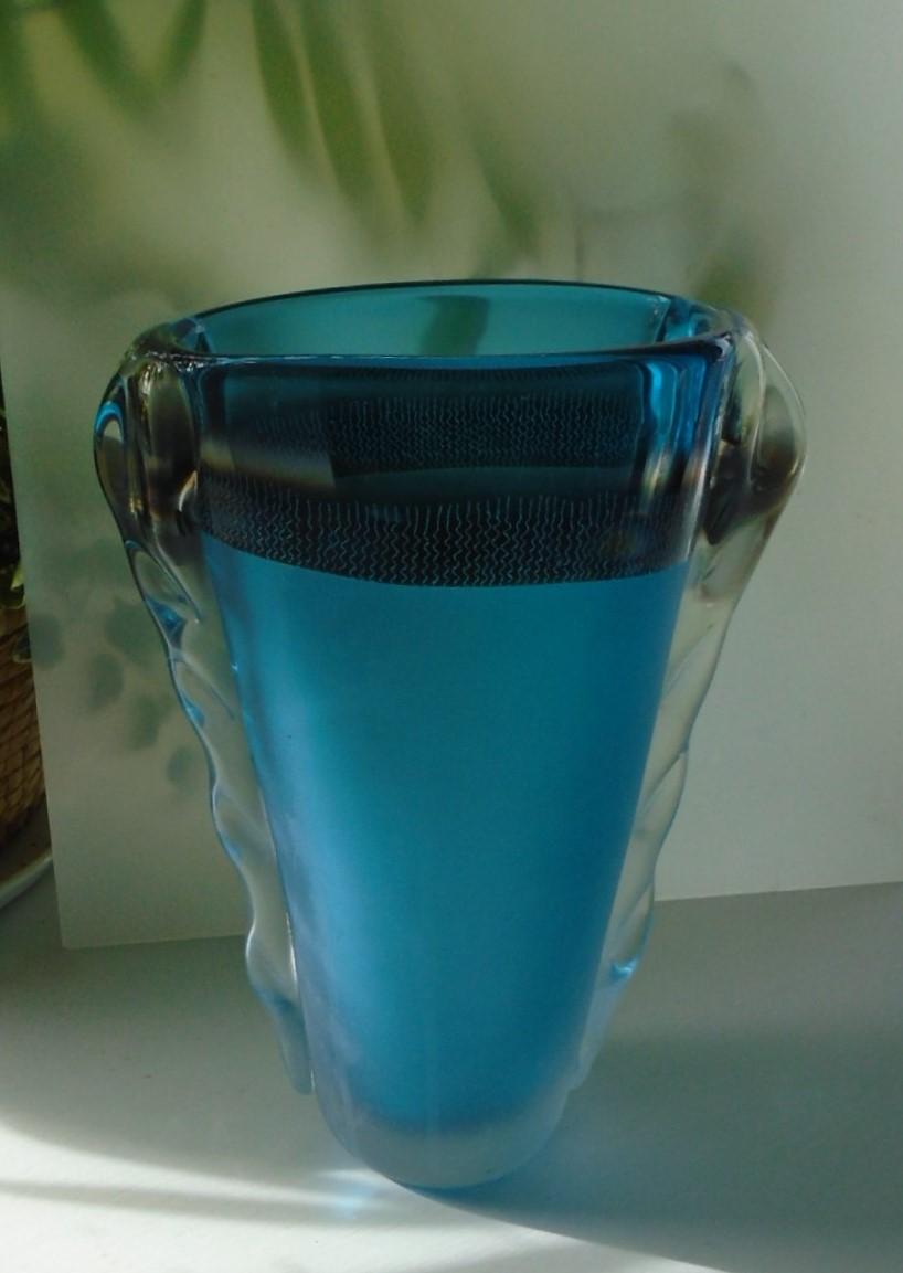 Large signed Studio Blue  Glass Vase by Jane Charles.