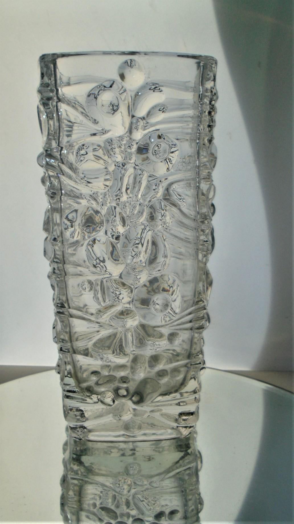 1974 vintage Sklo Union Hermanova Hut  pressed glass vase designed by Frantisek Peceny.