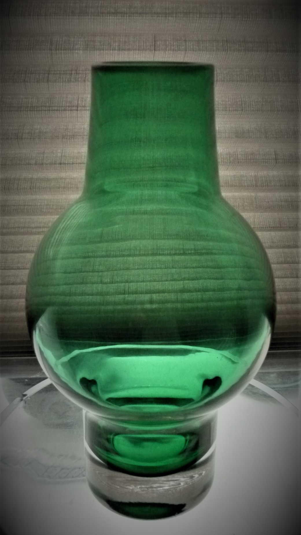 Green and clear cased glass vase. Made by Riihimaki of Finland in the 1970's, and designed by Aimo Okkolin.