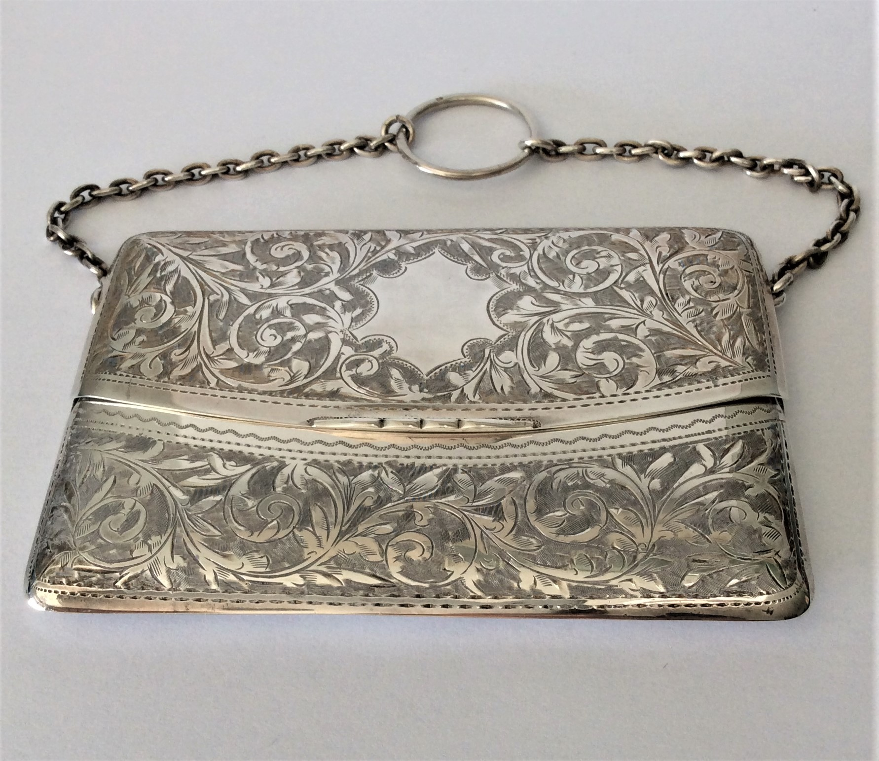 Antique Sterling Silver Dance/Card Purse Fully Hallmarked Birmingham 1905 by Silversmith William Henry Sparrow.      Fitted Vintage Box included   Purse Size 10cm x 7cm Weight 89g