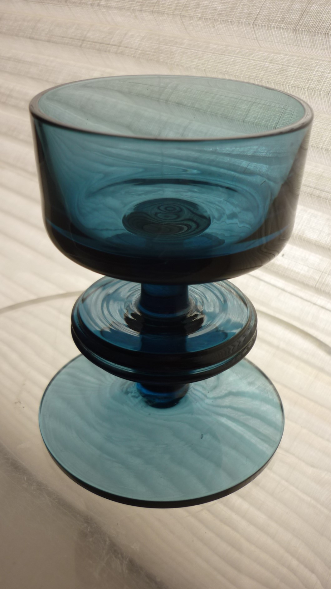 1967 vintage blue Ronald Stennet-Willson one ring Sherringham Pattern RSW13 glass candle holder.