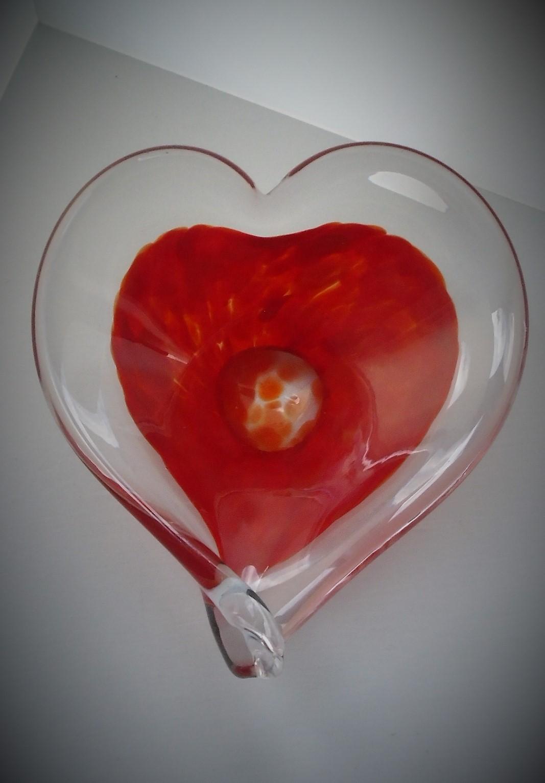 Pretty vintage 60s Italian Murano Heart Shaped Bon Bon Dish.