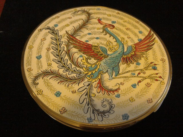 Large 9.5cms Vogue Exotic Bird Enamel and Gold tone Powder Compact.