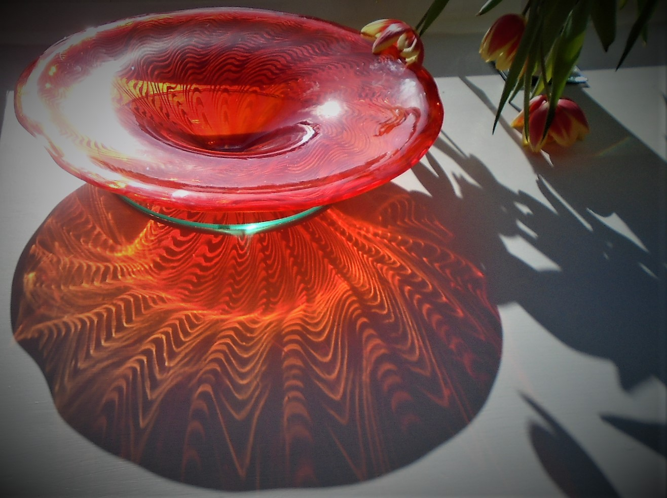 Stunning vintage Murano Red  Glass Bowl Centrepiece.