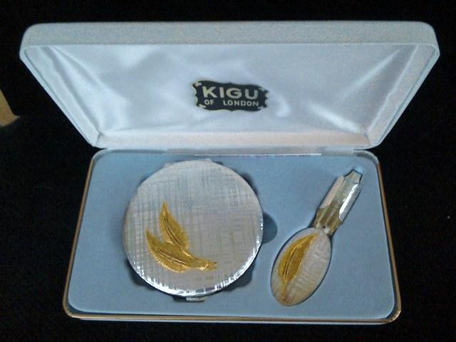 Vintage KIGU Silver plated Compact Vanity Set.