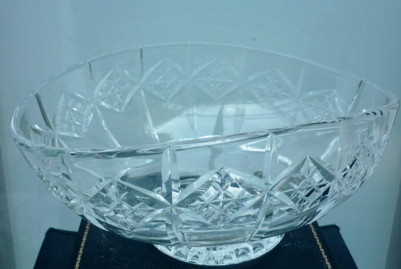 Stuart Crystal Cut Glass Oval Shaped Bowl