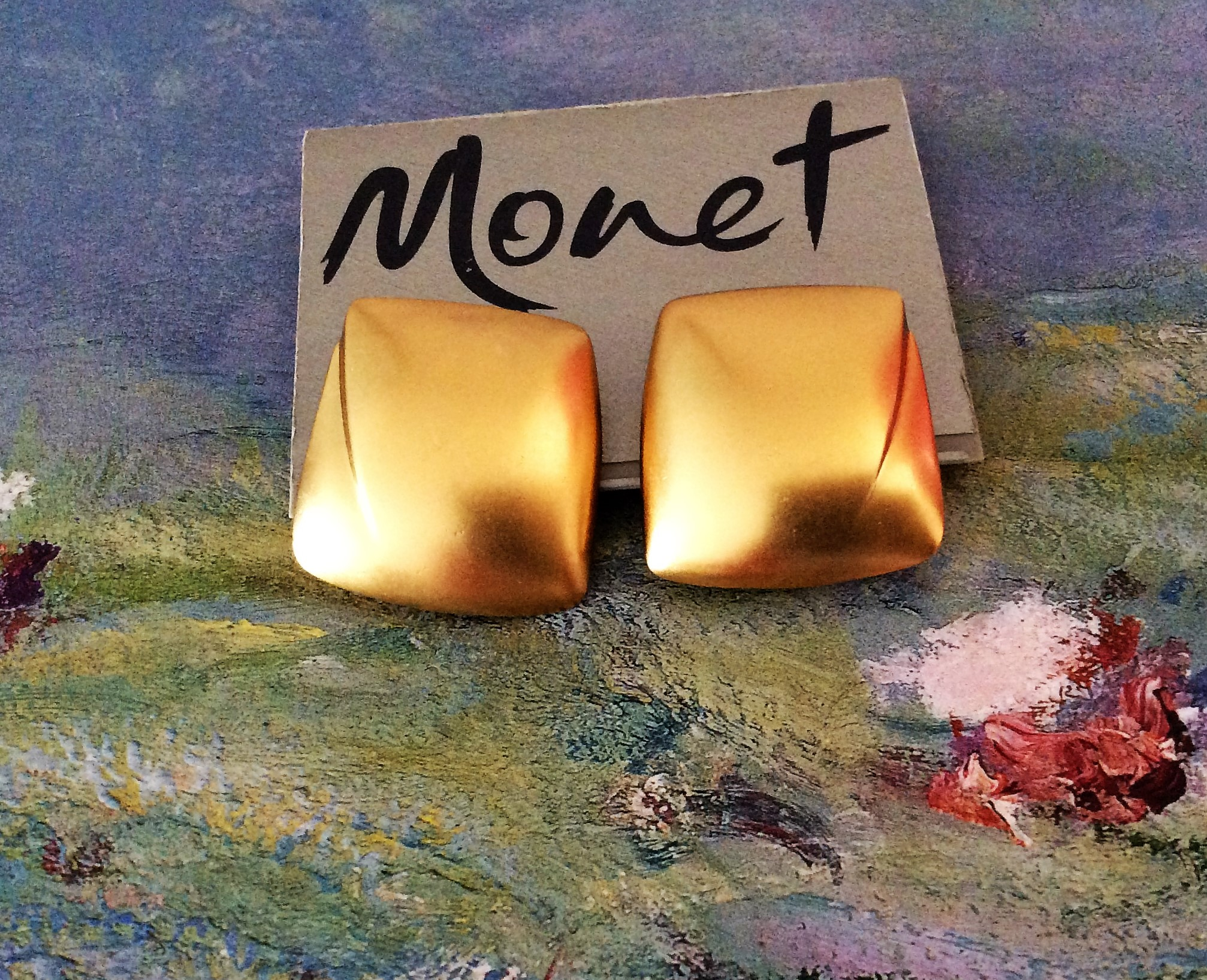 Vintage Designer Monet Gold Tone Clip Earrings