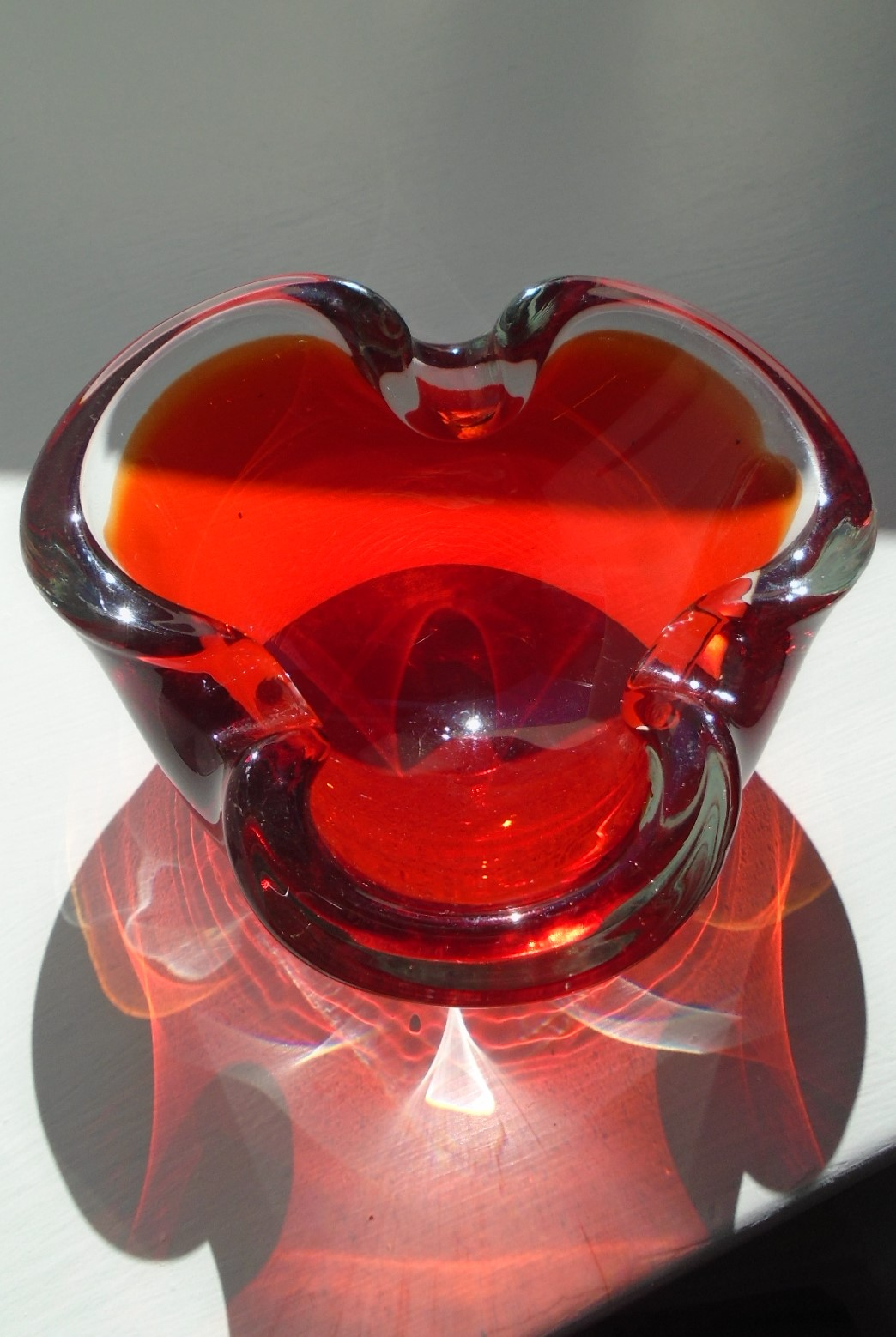 60s Murano Lobed Ruby Glass Bowl.