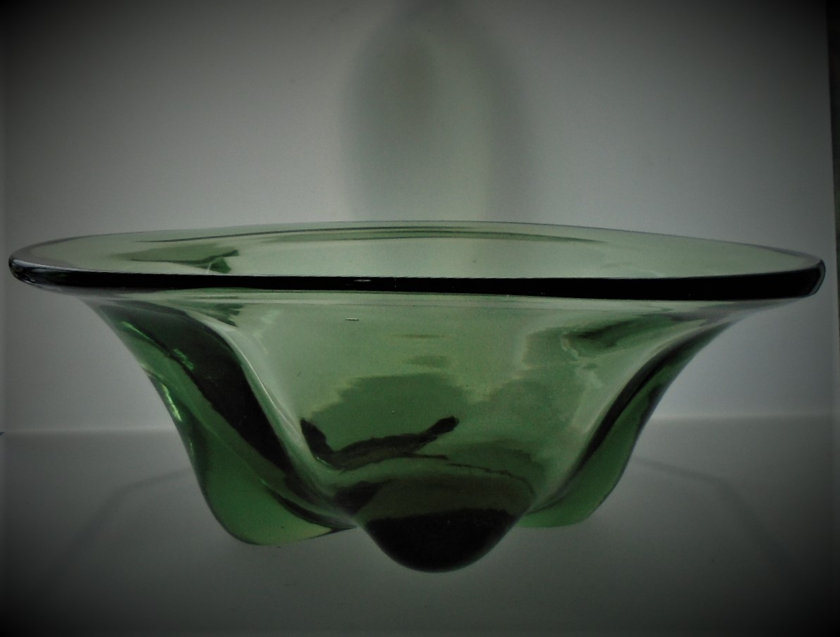 1950s vintage Whitefriars sea green lobed glass bowl designed by William Wilson Pattern No 9335.