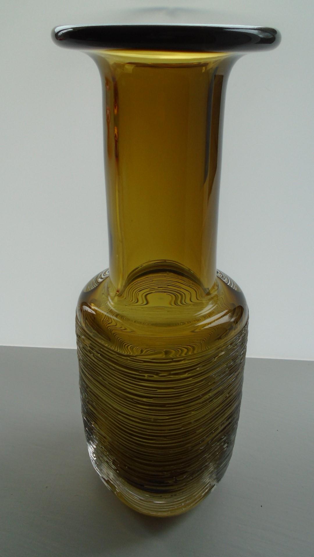 Mid Century Swedish 'Spun' Art Glass Vase by Bengt Edenfalk for Skruf