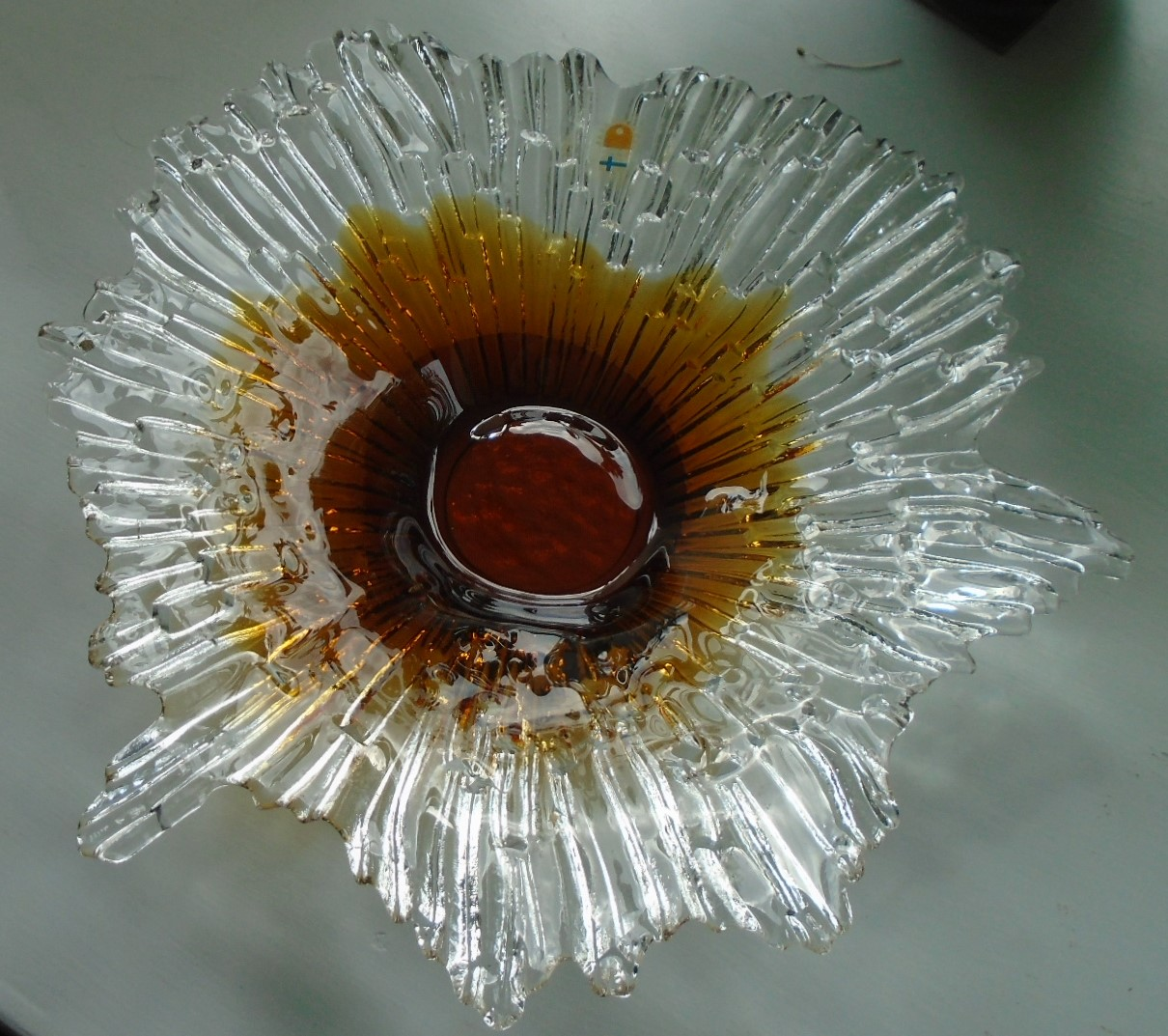 Finnish Signed 1970s HUMPPILA GLASS BOWL from designer Tauno Wirkala