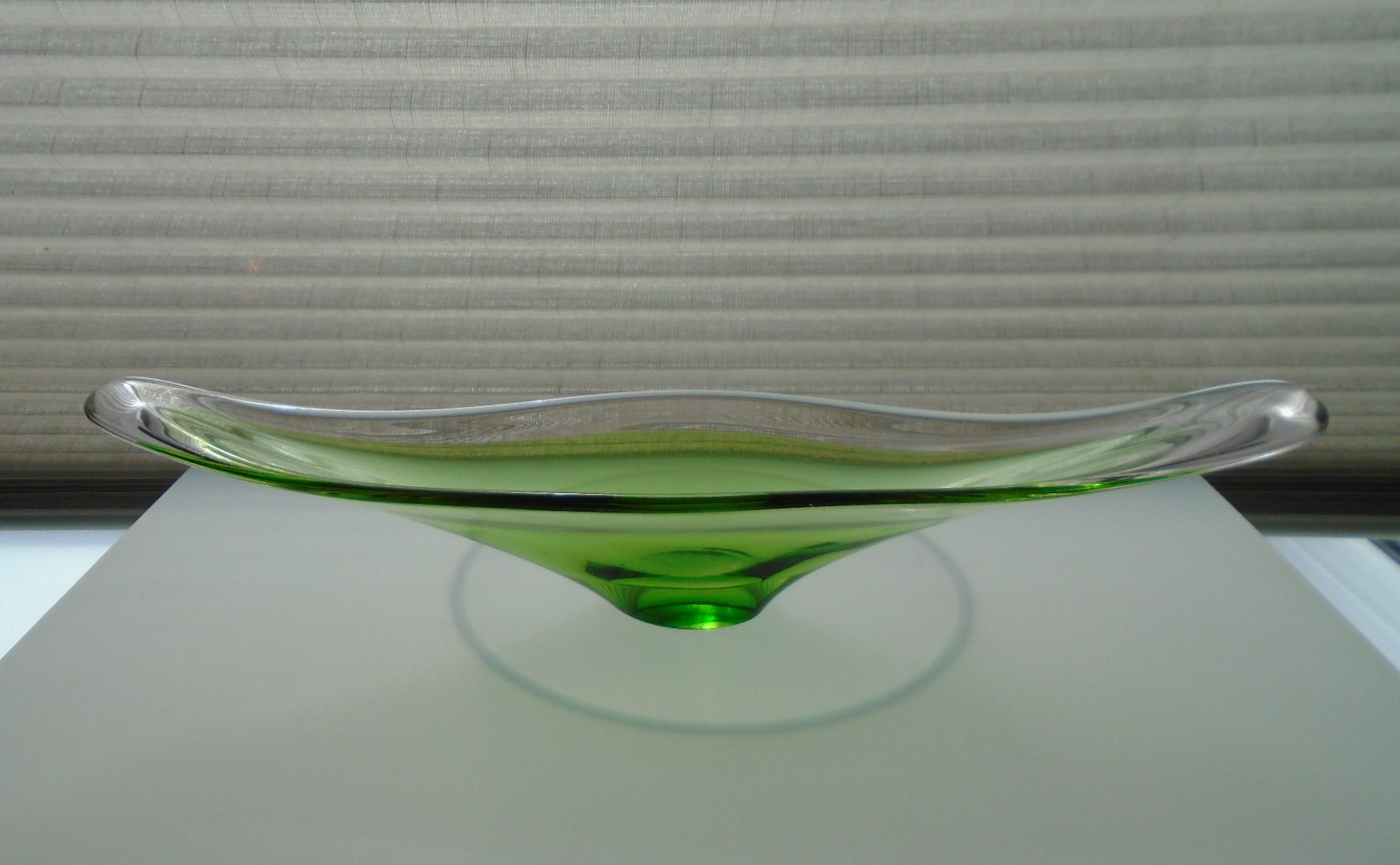 Vintage  Mid 20th Century Murano Glass long dish in apple green and clear glass with gently curving rim.