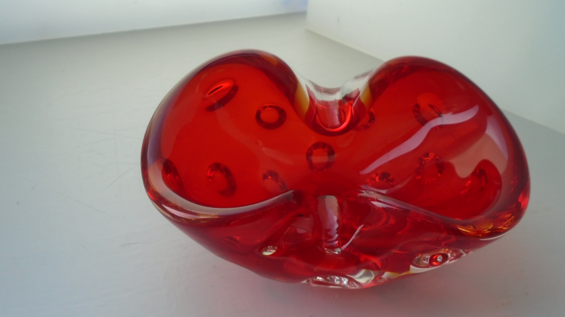 Vintage 60s MURANO Red Glass Bowl Attributed to Galliano Ferro
