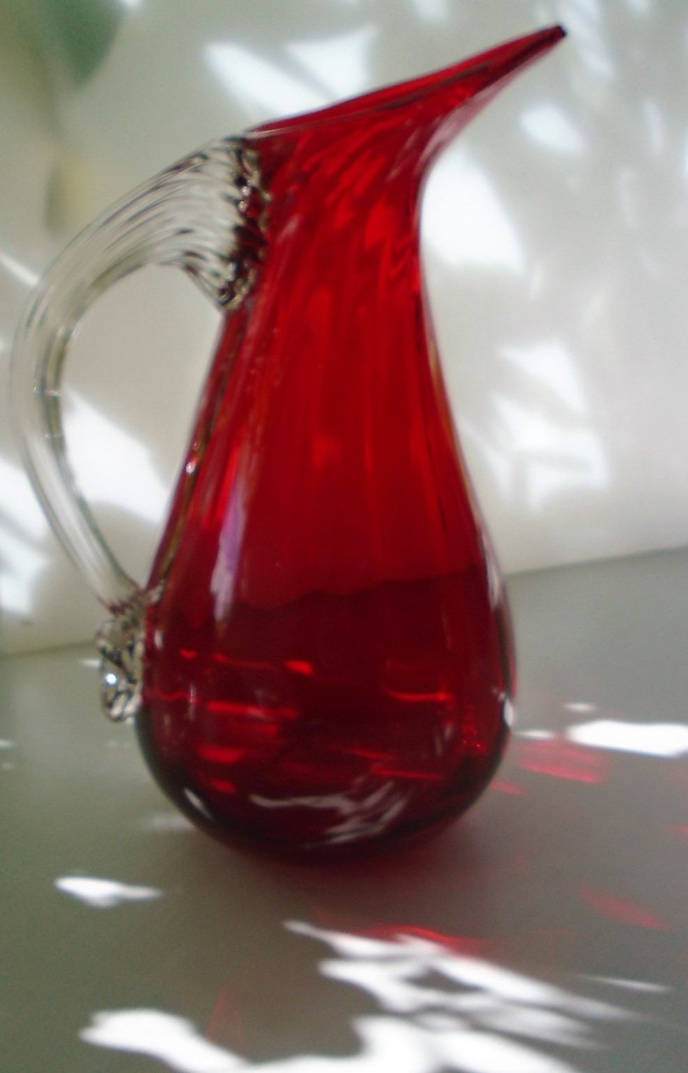 60s vintage Whitefriars GEOFFREY BAXTER Ruby Glass Jug.  Catalogue No. 9419.
