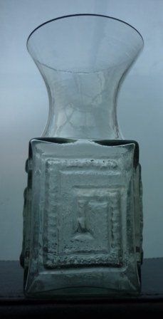 Dartington glass Greek Key pattern vase, FT58 designed by Frank Thrower