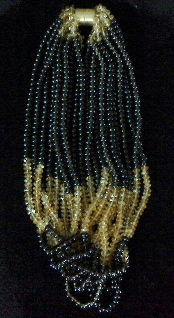 A Vintage10 strand Citrine and Smokey quartz necklace