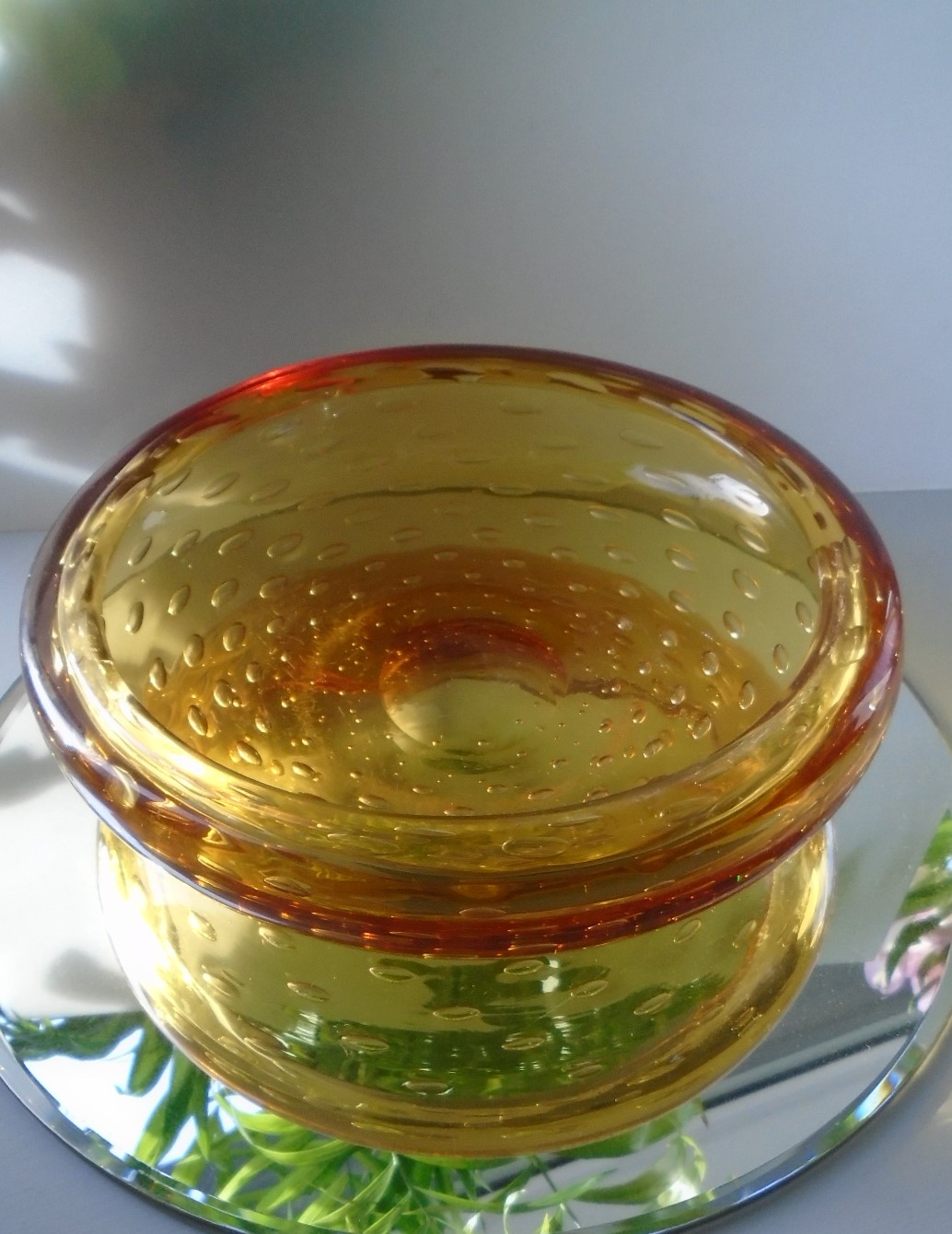 Amazingly heavy Vintage 50s William Wilson Whitefriars Glass Golden Amber Controlled Bubble Bowl Pattern 9099. It measures 8ins in diameter