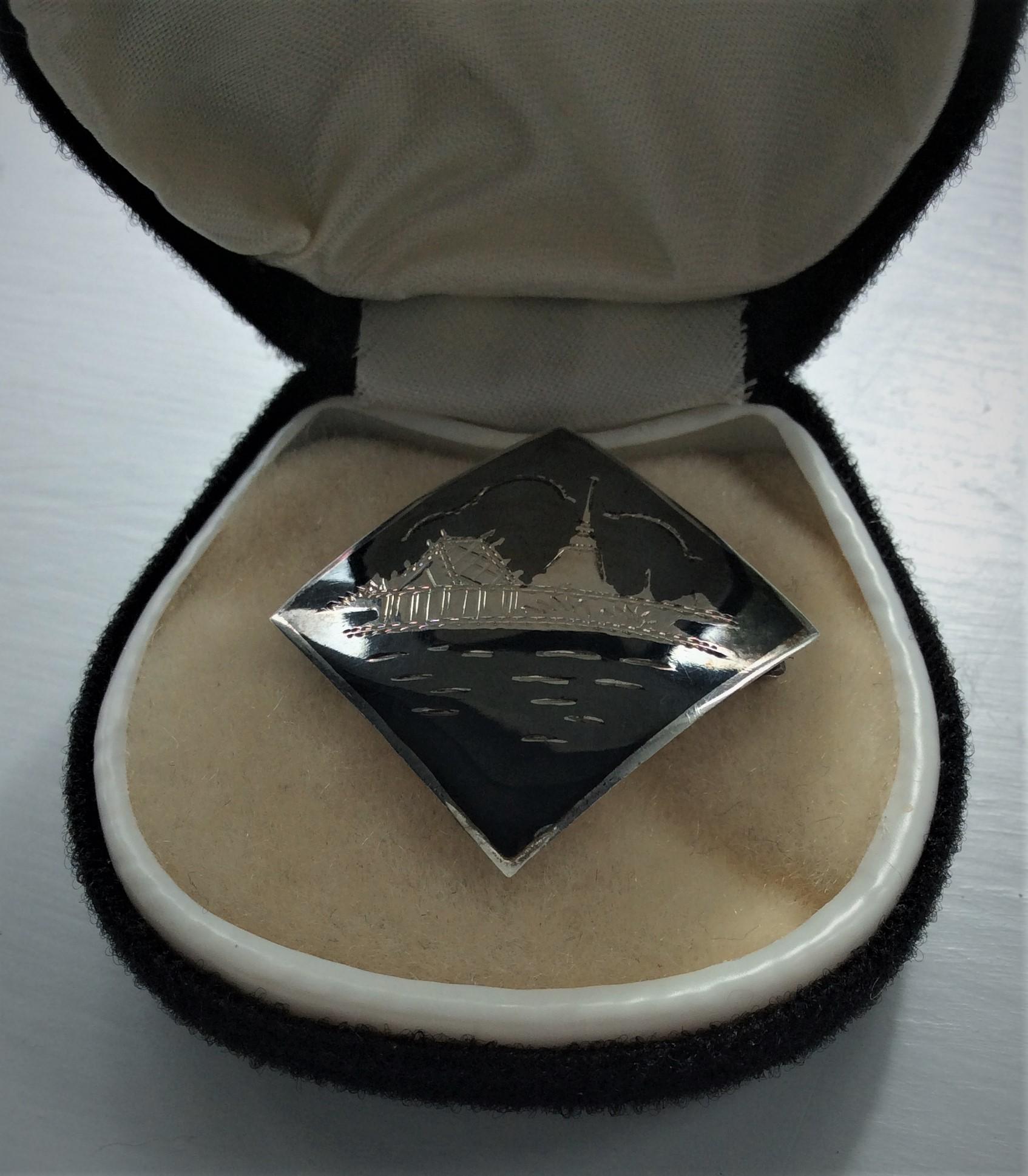 Vintage Thai Temple Niello Sterling Silver Pendant/Brooch