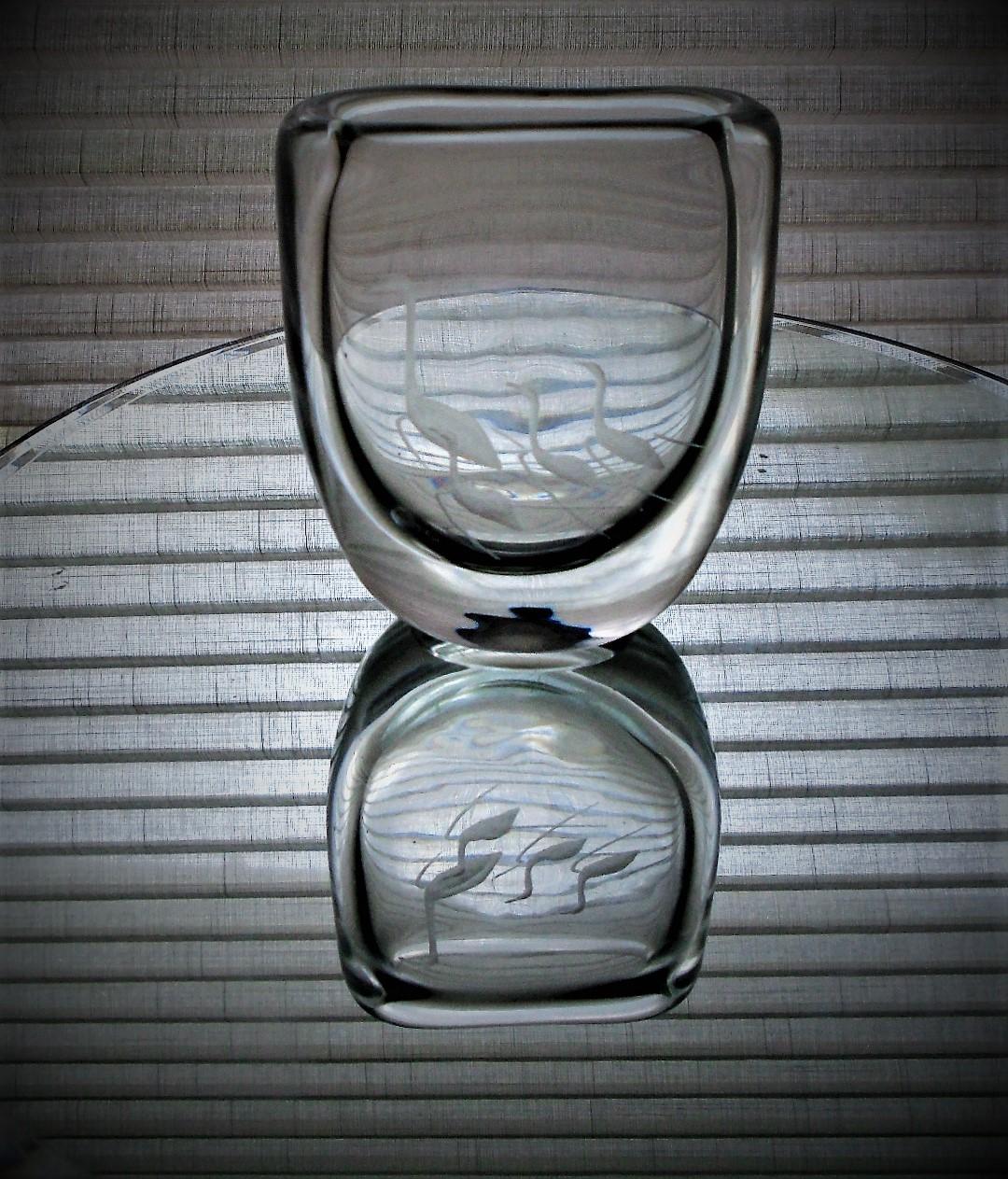 1960s vintage Kosta Art Glass Vase by Vicke Lindstrand.