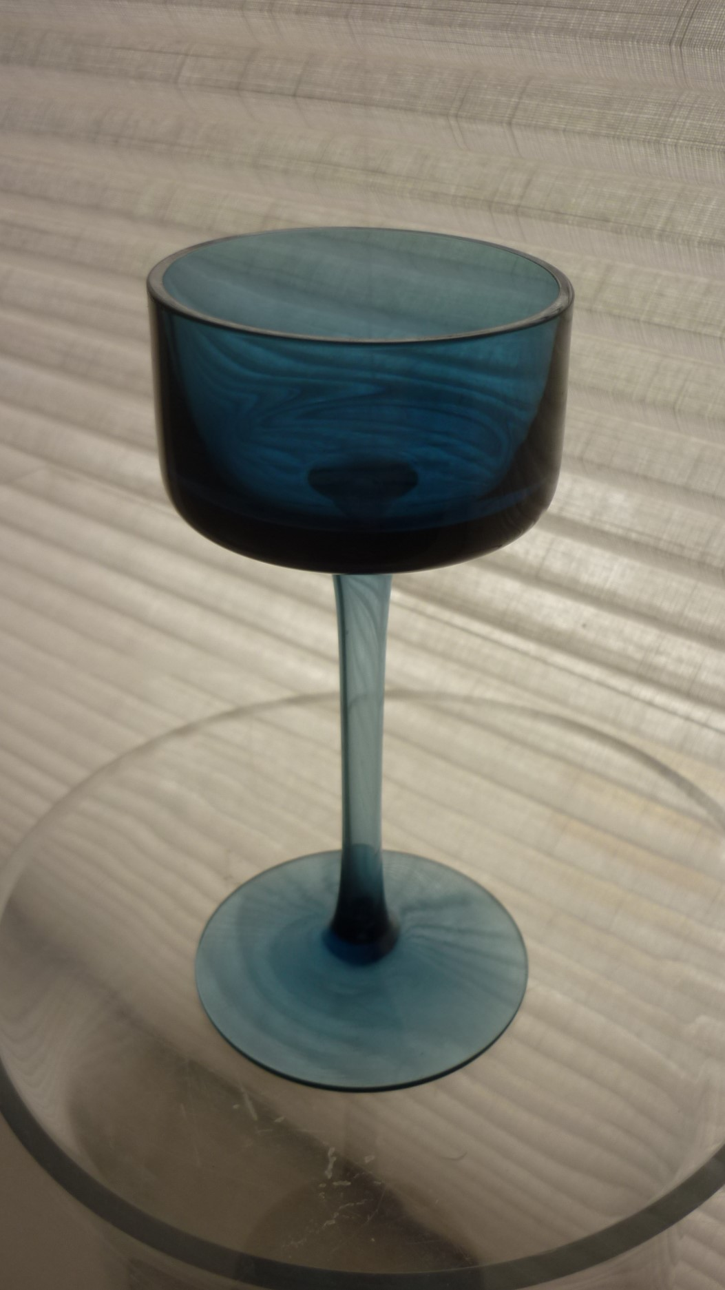 1967 vintage blue Ronald Stennet-Willson Brancaster Pattern No.RSW15 glass candle holder