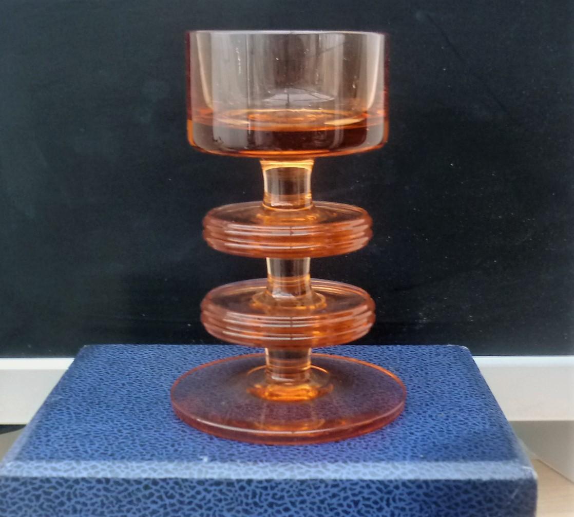 Stunning 1970s Sheringham topaz candlestick holder designed by Ronald Stennett Wilson.