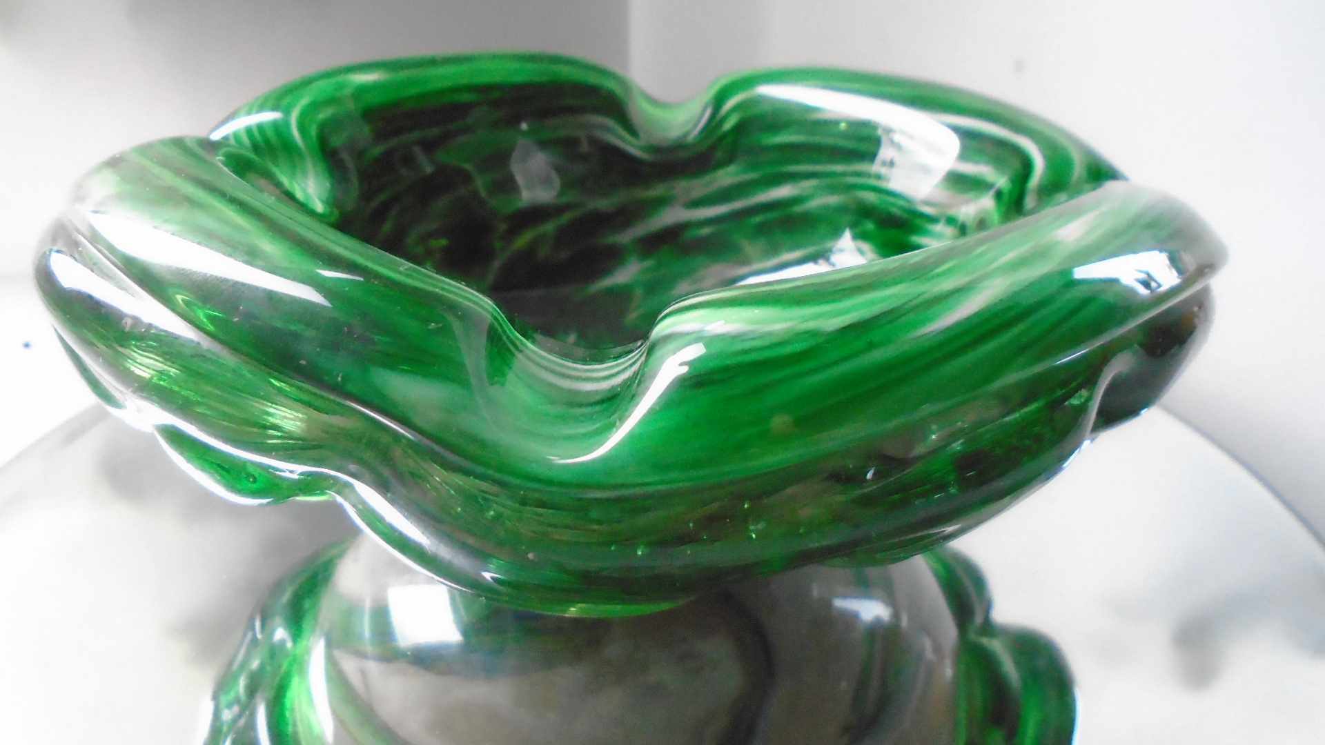 Unusual example of Maltese Glass in the form of this Vintage MTARFA GREEN GLASS BOWL.