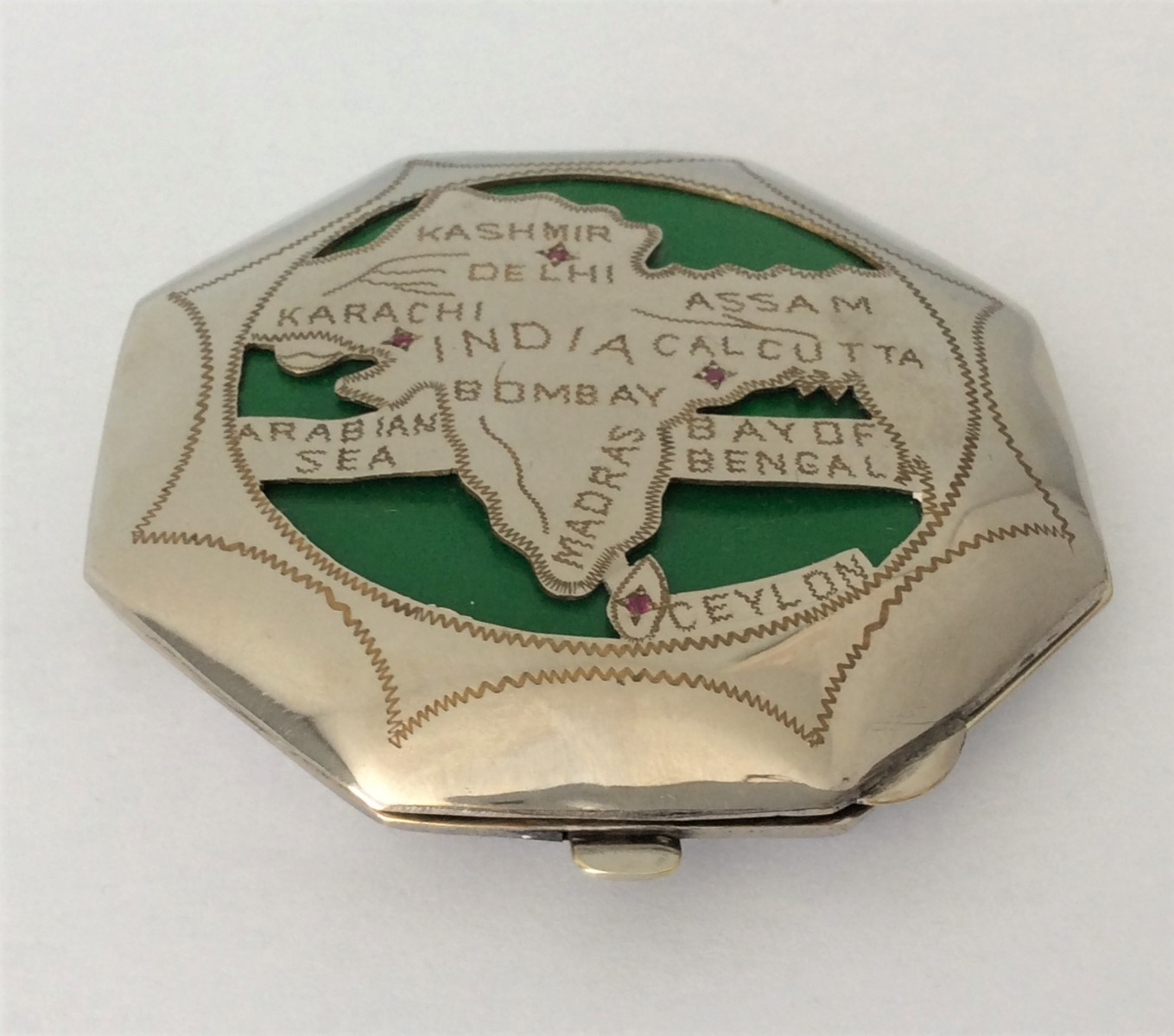 Vintage 30s Octagon Map of India Silver Tone Metal Powder Compact set with 4 Rubies    Compact Size: 3 inches