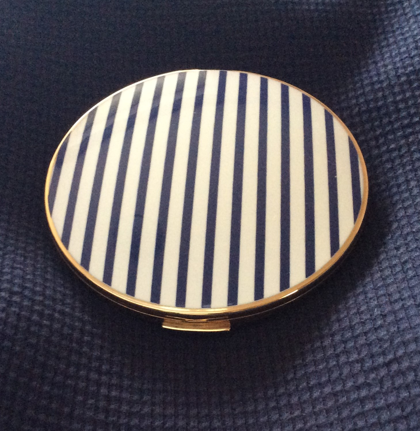 Vintage STRATTON Convertible Naucital Navy Blue and White Stripes Powder Compact