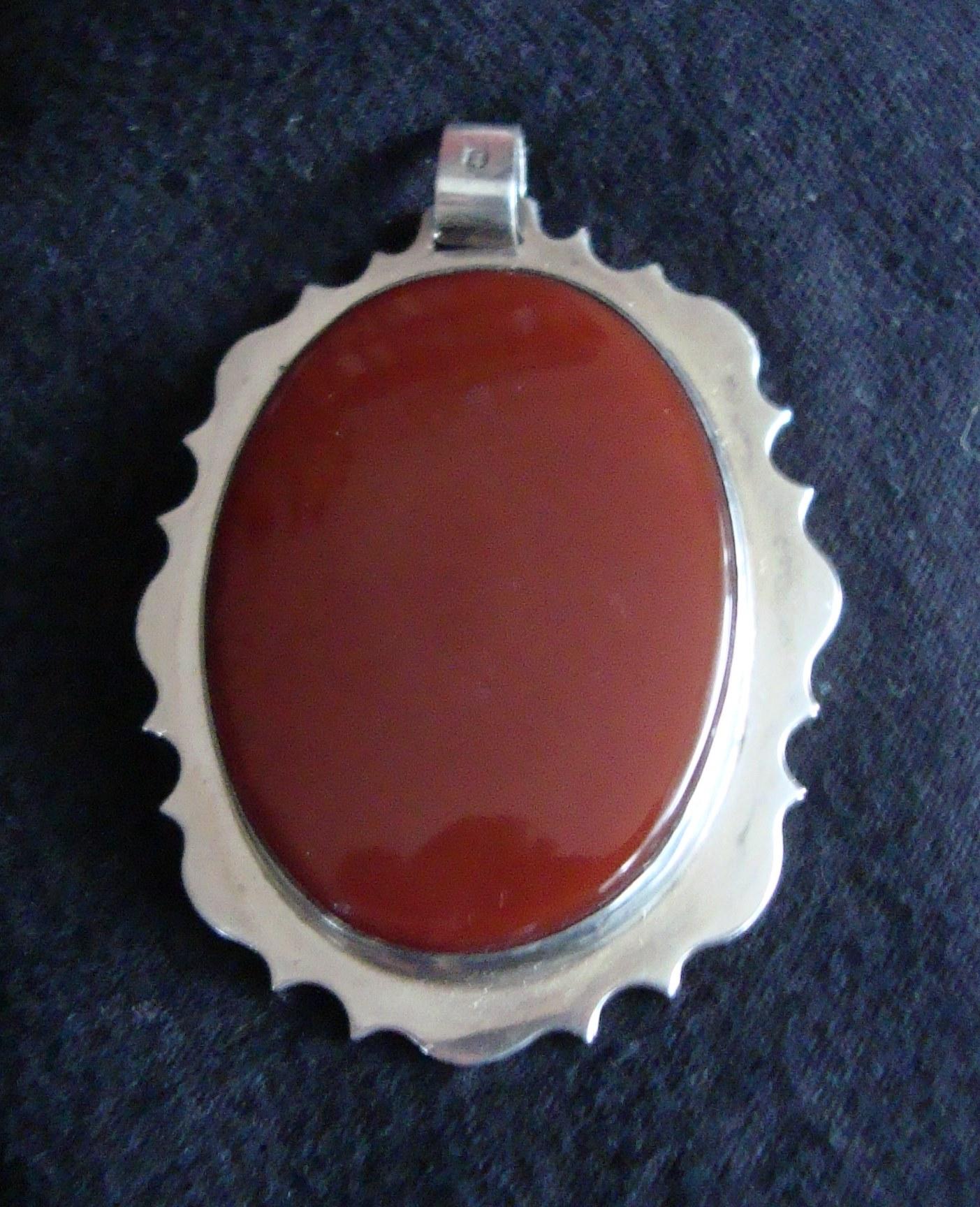 Rare 1967 Sidney Beddall Hallmarked  Silver surround Cornelian Pendant